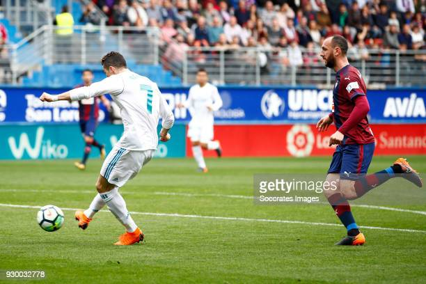 Cristiano Ronaldo of Real Madrid scores the first goal to make it 01 during the La Liga Santander match between Eibar v Real Madrid at the Estadio...