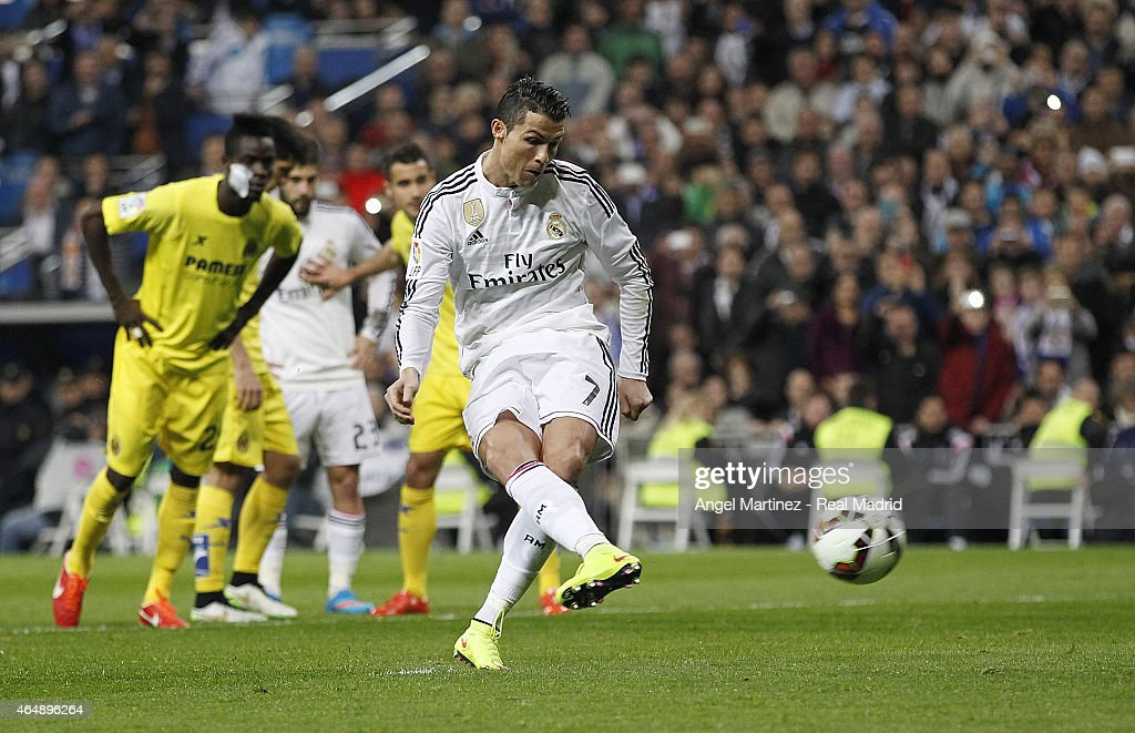 Cristiano Ronaldo of Real Madrid scores the opening goal from penalty spot during the La Liga match between Real Madrid CF and Villarreal CF at Estadio Santiago Bernabeu on March 1, 2015 in Madrid, Spain.
