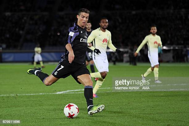 Cristiano Ronaldo of Real Madrid scores the second goal to make the score 0-2 during the FIFA Club World Cup Semi Final match between Club America...