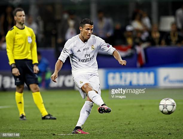 Cristiano Ronaldo of Real Madrid scores the winning penalty in the penalty shootouts during the UEFA Champions League final match between Real Madrid...