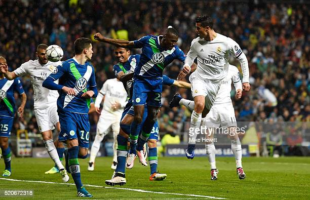 Cristiano Ronaldo of Real Madrid scores their second goal during the UEFA Champions League quarter final second leg match between Real Madrid CF and...