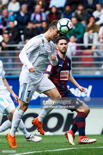 Cristiano Ronaldo of Real Madrid scoring his team's second goal during the La Liga match between SD Eibar and Real Madrid at Ipurua Municipal Stadium...