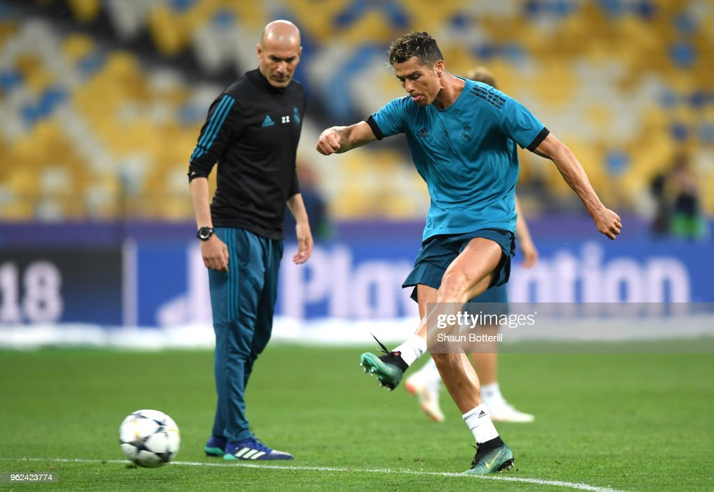 Cristiano Ronaldo of Real Madrid shoots during a Real Madrid training session ahead of the UEFA Champions League Final against Liverpool at NSC Olimpiyskiy Stadium on May 25, 2018 in Kiev, Ukraine.