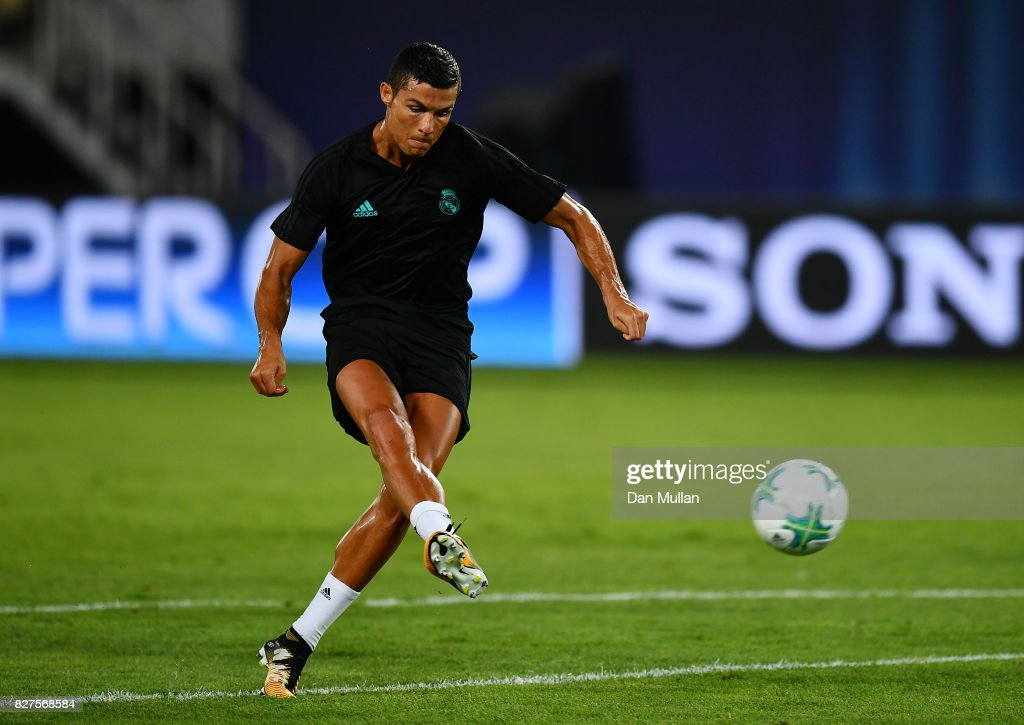 Cristiano Ronaldo of Real Madrid shoots during a training session ahead of the UEFA Super Cup at the National Arena Filip II Macedonian on August 7, 2017 in Skopje, Macedonia.