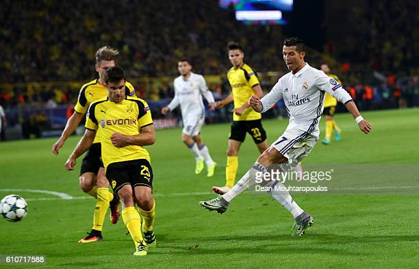 Cristiano Ronaldo of Real Madrid shoots during the UEFA Champions League Group F match between Borussia Dortmund and Real Madrid CF at Signal Iduna...