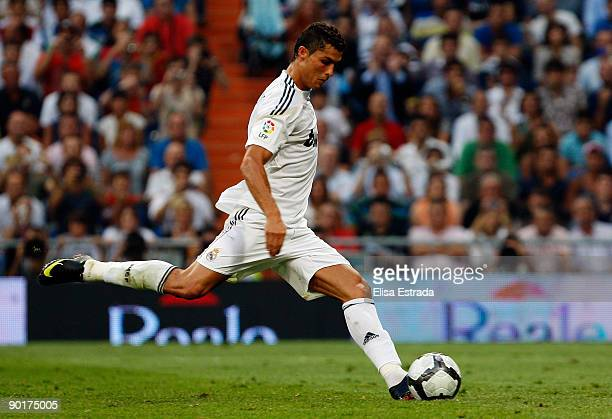 Cristiano Ronaldo of Real Madrid shoots on goal during La Liga match between Real Madrid and Deportivo La Coruna at Estadio Santiago Bernabeu on...