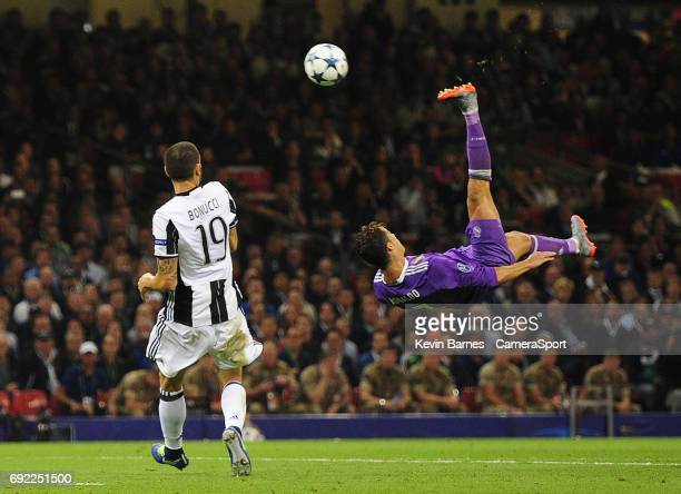 Cristiano Ronaldo of Real Madrid shoots with an overhead kick during the UEFA Champions League Final match between Juventus and Real Madrid at...