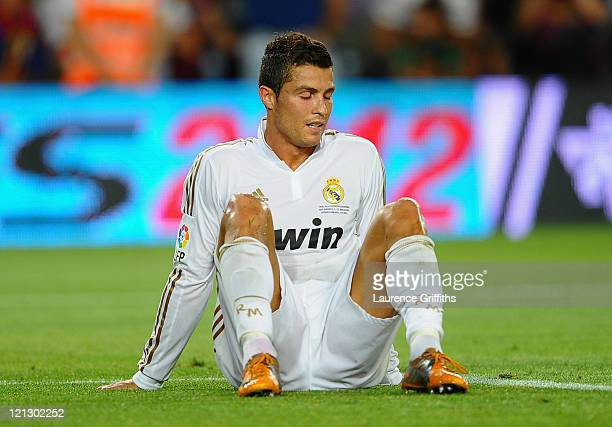 Cristiano Ronaldo of Real Madrid shows his frustration after the second goal during the Super Cup second leg match between Barcelona and Real Madrid...