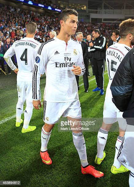 Cristiano Ronaldo of Real Madrid stands around after the UEFA Super Cup match between Real Madrid and Sevilla FC at the Cardiff City Stadium on...