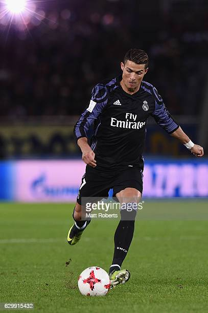 Cristiano Ronaldo of Real Madrid strikes at a freekick during the FIFA Club World Cup Japan semifinal match between Club America v Real Madrid at...