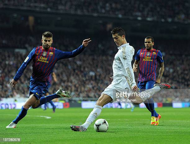 Cristiano Ronaldo of Real Madrid strikes to score his sides opening goal during the Copa del Rey quarter final match between Real Madrid and...