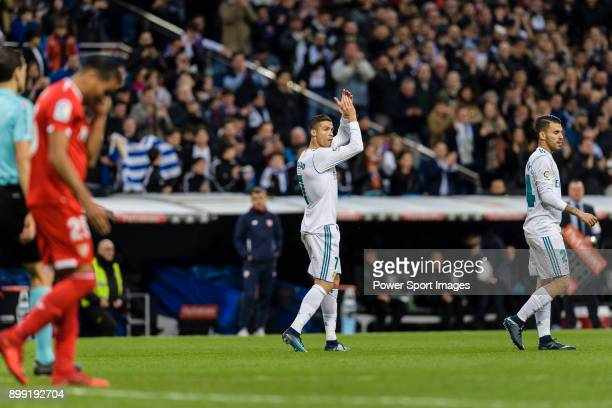 Cristiano Ronaldo of Real Madrid switch off Daniel Ceballos of Real Madrid during La Liga 201718 match between Real Madrid and Sevilla FC at Santiago...