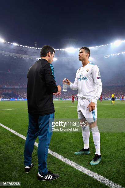 Cristiano Ronaldo of Real Madrid takes a drink before the UEFA Champions League final between Real Madrid and Liverpool at NSC Olimpiyskiy Stadium on...