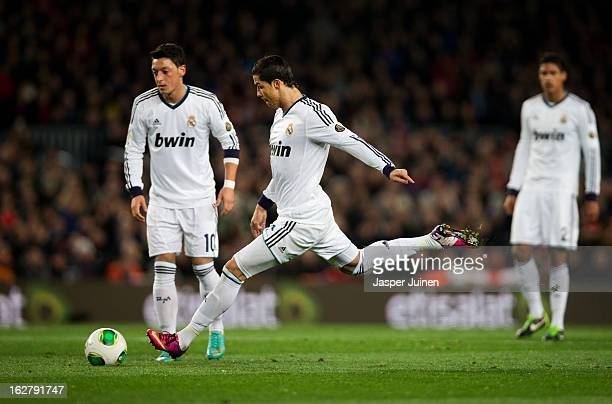 Cristiano Ronaldo of Real Madrid takes a free kick during the Copa del Rey semi final second leg match between FC Barcelona and Real Madrid CF at the...