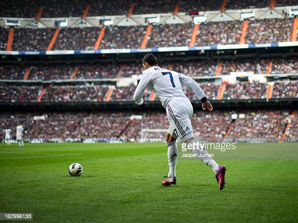 Cristiano Ronaldo of Real Madrid takes a free kick during the la Liga match between Real Madrid CF and FC Barcelona at Estadio Santiago Bernabeu on...
