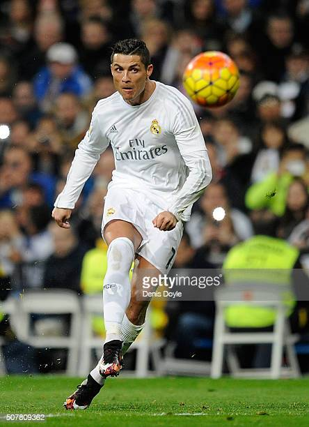Cristiano Ronaldo of Real Madrid takes a free kick during the La Liga match between Real Madrid CF and Real CD Espanyol at Estadio Santiago Bernabeu...