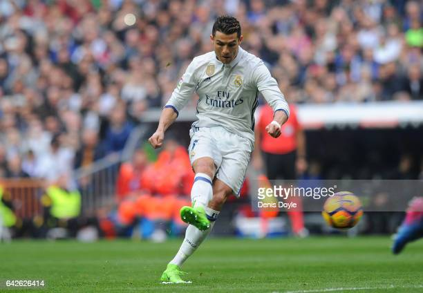 Cristiano Ronaldo of Real Madrid takes a free kick during the La Liga match between Real Madrid CF and RCD Espanyol at the Bernabeu stadium on...