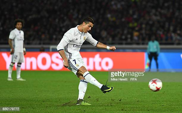 Cristiano Ronaldo of Real Madrid takes a freekick during the FIFA Club World Cup Final match between Real Madrid and Kashima Antlers at International...
