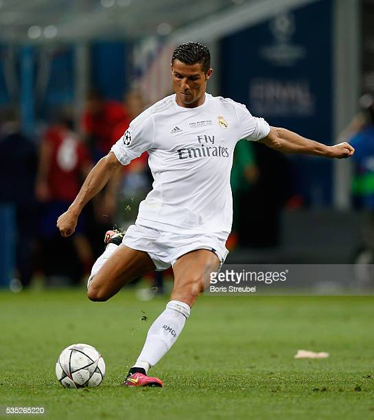 Cristiano Ronaldo of Real Madrid takes a freekick during the Champions League final match between Real Madrid and Club Atletico de Madrid at Stadio...