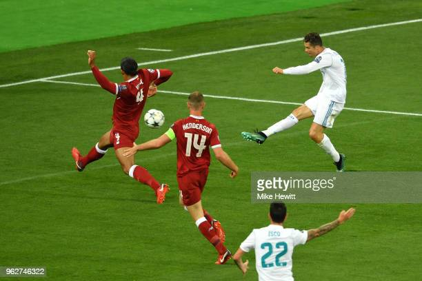 Cristiano Ronaldo of Real Madrid takes a shot during the UEFA Champions League Final between Real Madrid and Liverpool at NSC Olimpiyskiy Stadium on...