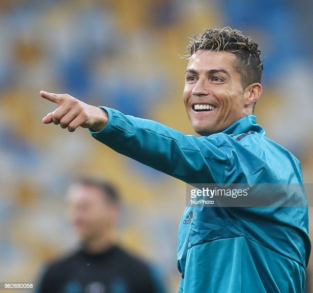 Cristiano Ronaldo of Real Madrid takes part in a training session prior to the UEFA Champions League final between Real Madrid and Liverpool at the...