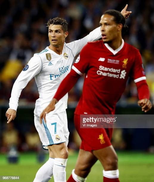 Cristiano Ronaldo of Real Madrid Virgil van Dijk of Liverpool during the UEFA Champions League final between Real Madrid and Liverpool on May 26 2018...