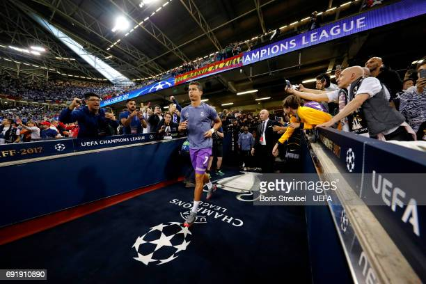 Cristiano Ronaldo of Real Madrid walks out of the tunnel to warm up prior to the UEFA Champions League Final between Juventus and Real Madrid at...