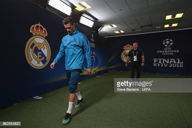 Cristiano Ronaldo of Real Madrid walks through the tunnel before a Real Madrid training session prior to the UEFA Champions League final between Real...