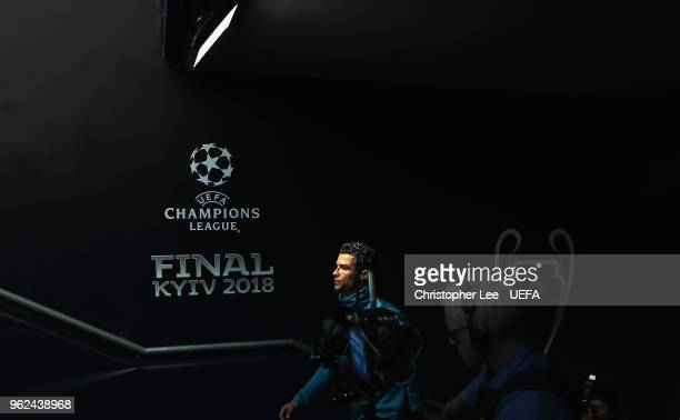 Cristiano Ronaldo of Real Madrid walks up the tunnel during Real Madrid Training Session during the UEFA Champions League final between Real Madrid...
