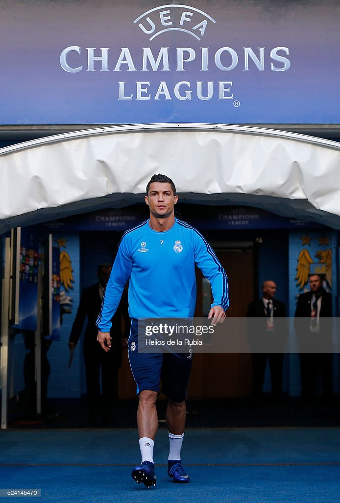 Cristiano Ronaldo of Real Madrid warm up during a training session ahead of the UEFA Champions League Semi Final match between Manchester City FC and Real Madrid at the Etihad Stadium on April 25, 2016 in Manchester, United Kingdom.