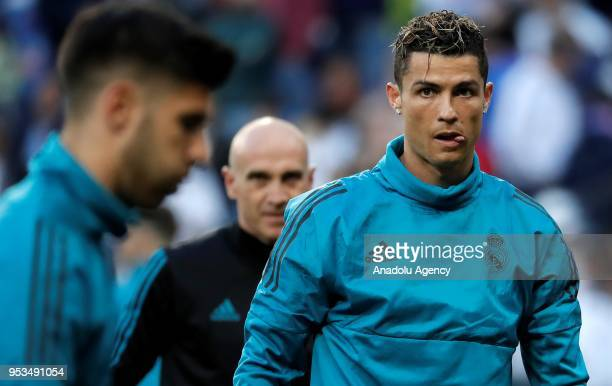 Cristiano Ronaldo of Real Madrid warms up ahead of Champions League semi final return match between Real Madrid and FC Bayern Munich at the Santiago...