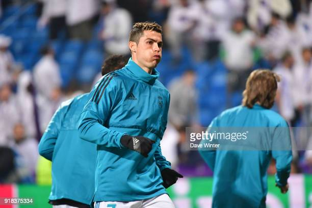 Cristiano Ronaldo of Real Madrid warms up before the Champions League match between Real Madrid and Paris Saint Germain at Estadio Santiago Bernabeu...