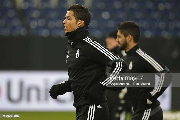 Cristiano Ronaldo of Real Madrid warms up during a training session at VeltinsArena on February 17 2015 in Gelsenkirchen Germany