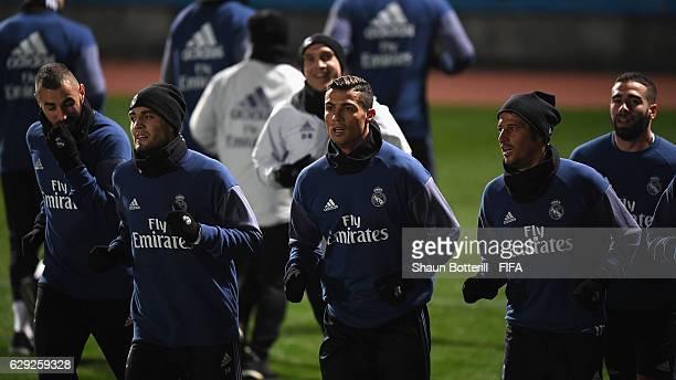 Cristiano Ronaldo of Real Madrid warms up during a training session at Mitsuzawa Football Stadium on December 12, 2016 in Yokohama, Japan.