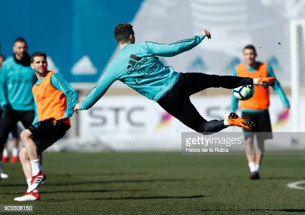 Cristiano Ronaldo of Real Madrid warms up during a training session at Valdebebas training ground on February 23 2018 in Madrid Spain