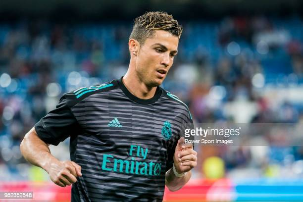 Cristiano Ronaldo of Real Madrid warms up prior to the La Liga match between Real Madrid and Athletic Club at Estadio Santiago Bernabeu on April 18...