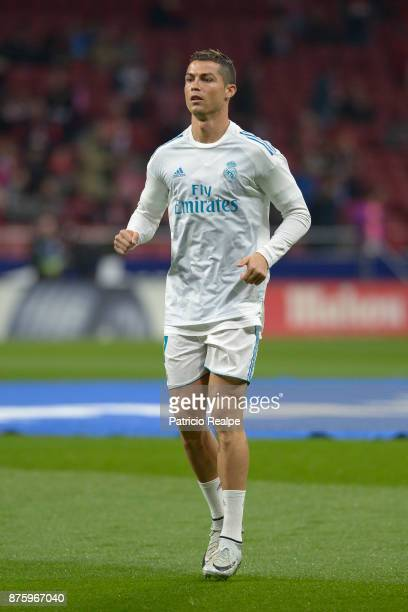 Cristiano Ronaldo of Real Madrid warms up prior to the match between Atletico Madrid and Real Madrid as part of La Liga at Wanda Metropolitano...