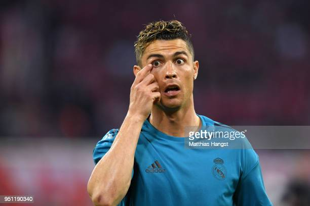 Cristiano Ronaldo of Real Madrid warms up prior to the UEFA Champions League Semi Final First Leg match between Bayern Muenchen and Real Madrid at...