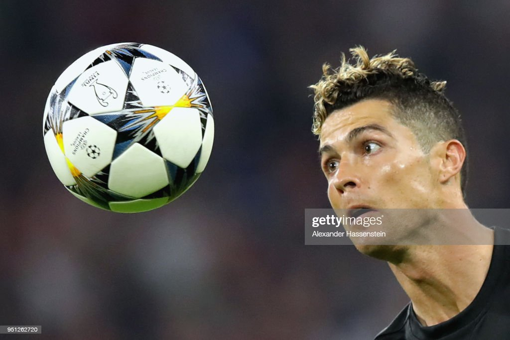 Cristiano Ronaldo of Real Madrid watches the ball during the UEFA Champions League Semi Final First Leg match between Bayern Muenchen and Real Madrid at the Allianz Arena on April 25, 2018 in Munich, Germany.