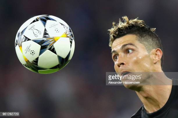 Cristiano Ronaldo of Real Madrid watches the ball during the UEFA Champions League Semi Final First Leg match between Bayern Muenchen and Real Madrid...