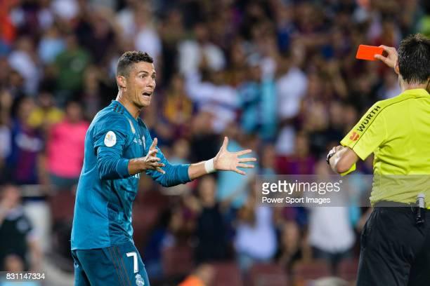 Cristiano Ronaldo of Real Madrid who gestures after gets a red card from Fifa Referee Ricardo de Burgos Bergoetxea during the Supercopa de Espana...