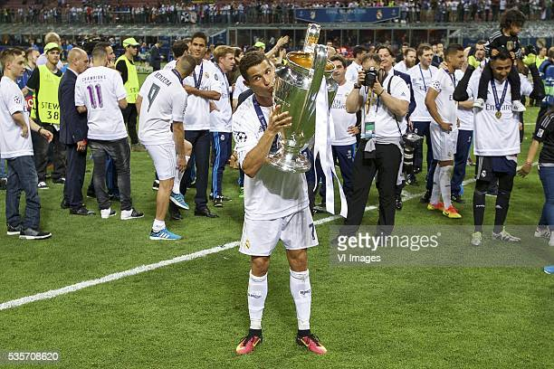 Cristiano Ronaldo of Real Madrid with Champions League trophy Coupe des clubs Champions Europeeens during the UEFA Champions League final match...