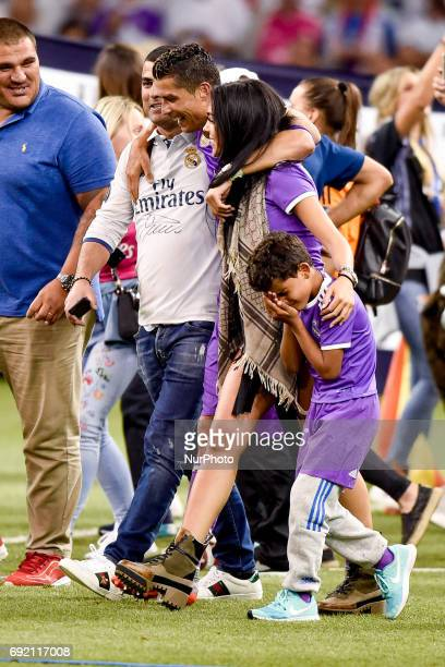 Cristiano Ronaldo of Real Madrid with Georgina Rodrigez and his son Cristiano Jr during the UEFA Champions League Final match between Real Madrid and...