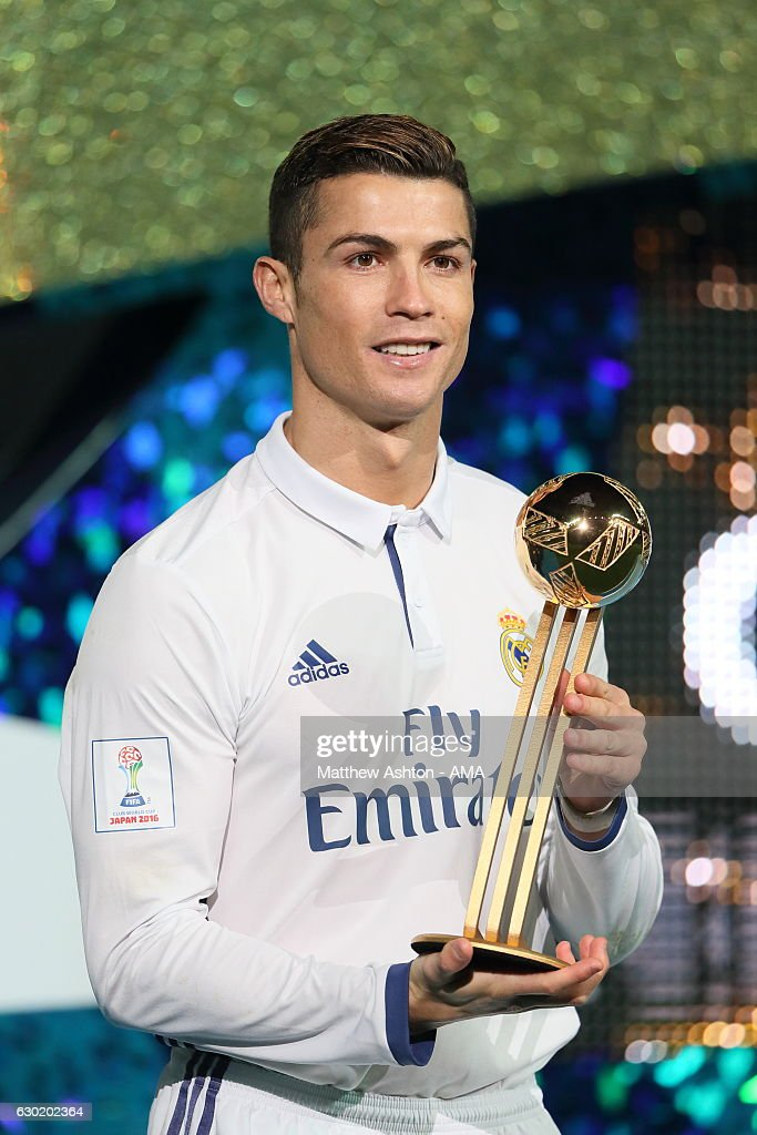 Cristiano Ronaldo of Real Madrid with the Golden Boot Trophy after the FIFA Club World Cup final match between Real Madrid and Kashima Antlers at International Stadium Yokohama on December 18, 2016 in Yokohama, Japan.