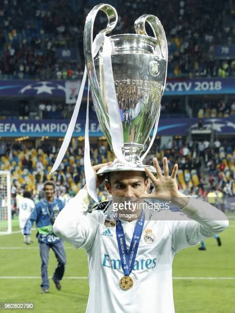 Cristiano Ronaldo of Real Madrid with UEFA Champions League trophy Coupe des clubs Champions Europeens during the UEFA Champions League final between...