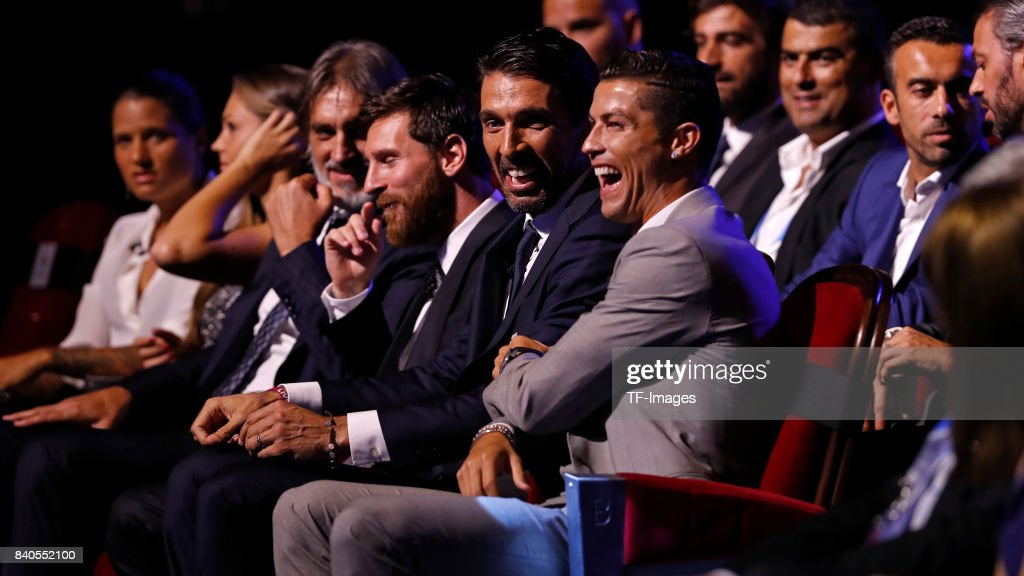 Cristiano Ronaldo of Real Madrid,Lionel Messi of Barcelona and Gianluigi Buffon of Juventus looks on during the UEFA Champions League Group stage draw ceremony, at the Grimaldi Forum, Monte Carlo in Monaco, on August 24, 2017.