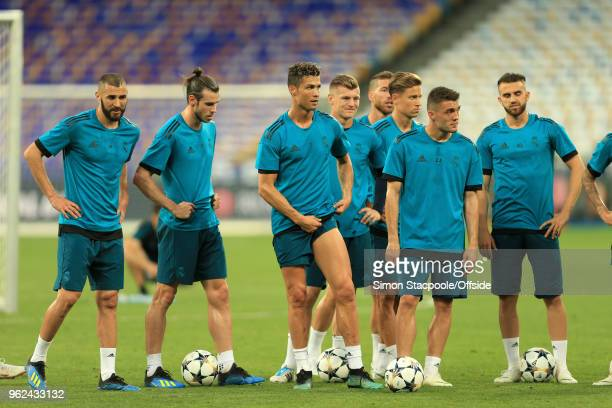 Cristiano Ronaldo of Real pulls his shorts up during a training session ahead of the UEFA Champions League Final between Real Madrid and Liverpool on...