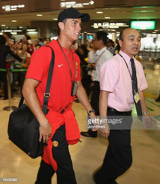 Cristiano Ronaldo of the Manchester United squad arrives at Narita Airport at the start of their Far East Tour on July 16 2007 in Tokyo Japan