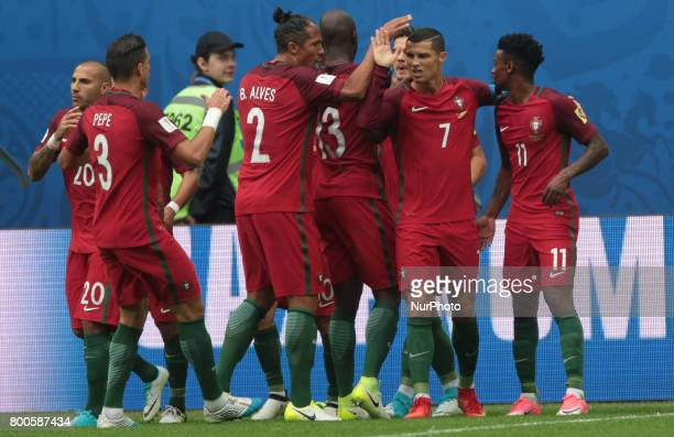Cristiano Ronaldo of the Portugal national football team celebrates after scoring a goal during the 2017 FIFA Confederations Cup match first stage...