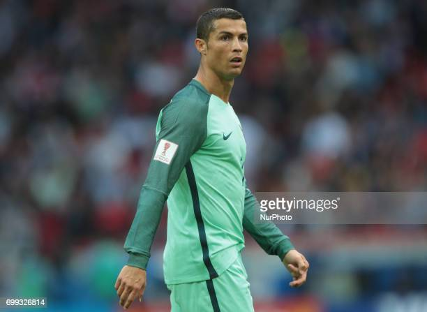Cristiano Ronaldo of the Portugal national football team reacts during the 2017 FIFA Confederations Cup match first stage Group A between Russia and...